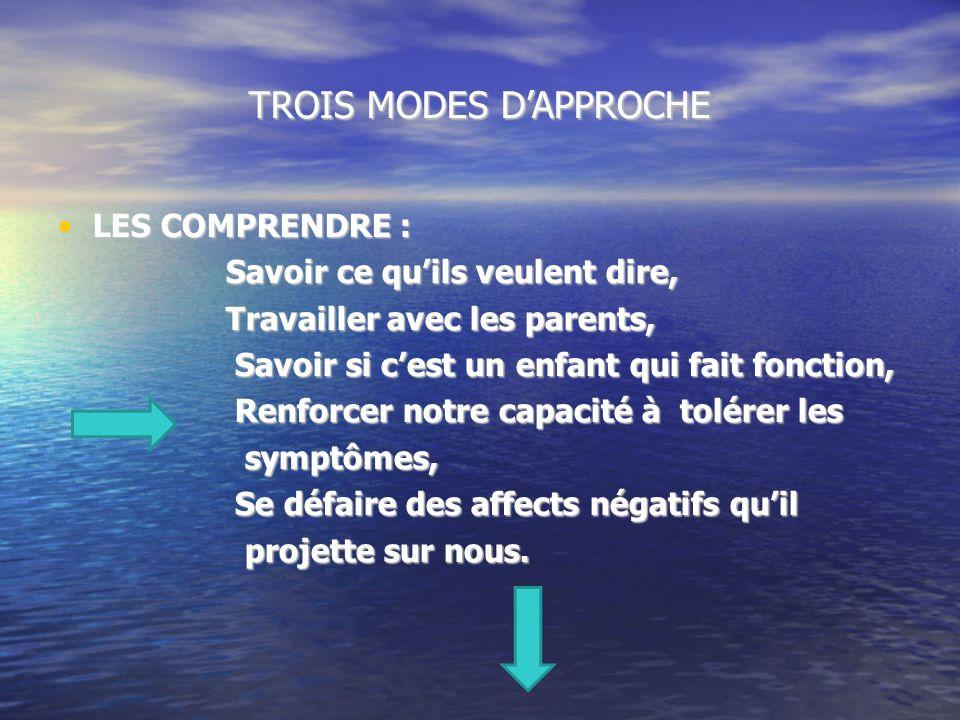 TROIS MODES D'APPROCHE