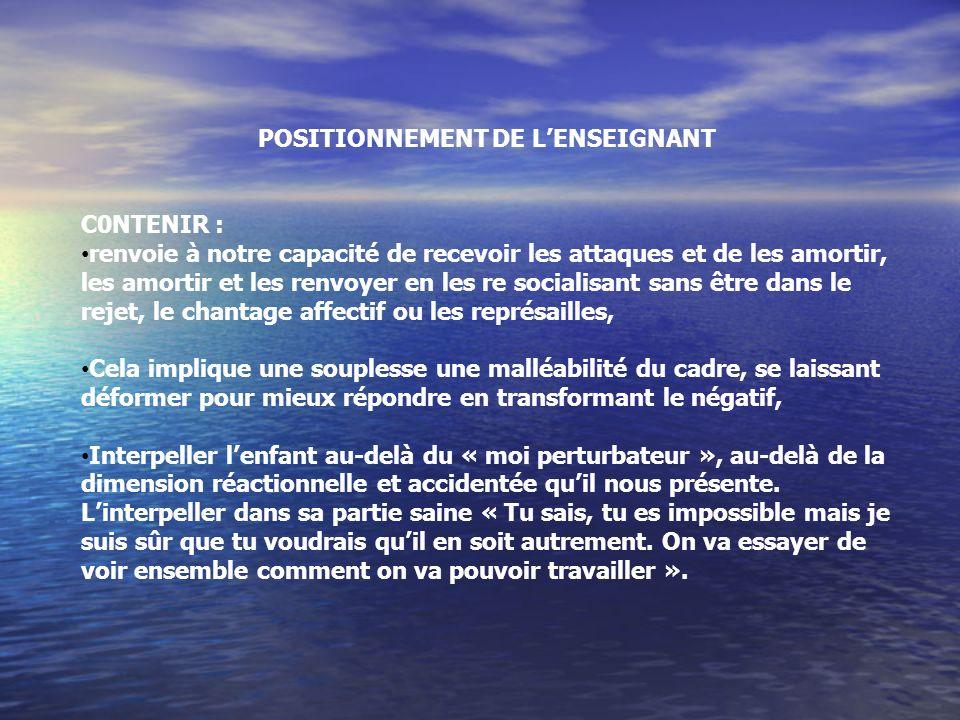 POSITIONNEMENT DE L'ENSEIGNANT
