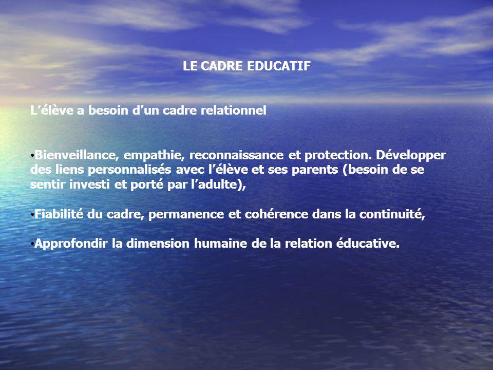 LE CADRE EDUCATIF L'élève a besoin d'un cadre relationnel.