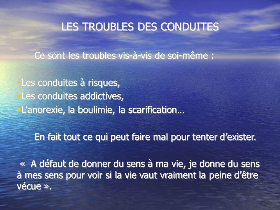 LES TROUBLES DES CONDUITES