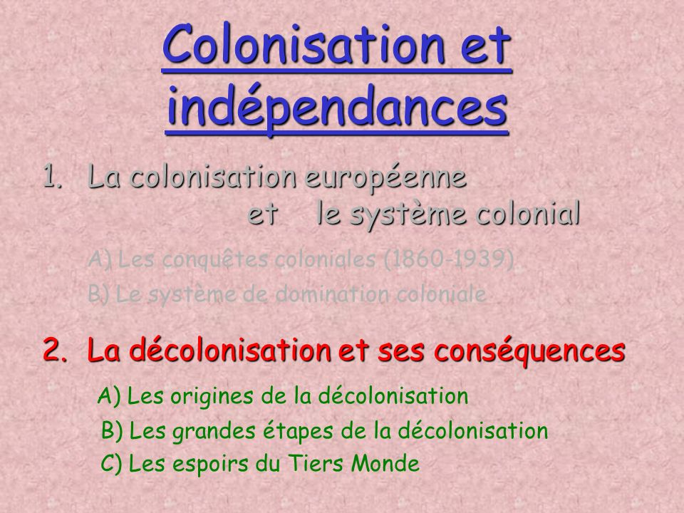 Colonisation et indépendances
