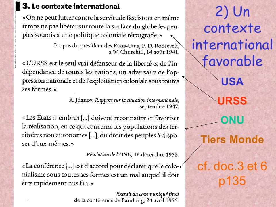 2) Un contexte international favorable USA URSS ONU Tiers Monde cf. doc.3 et 6 p135
