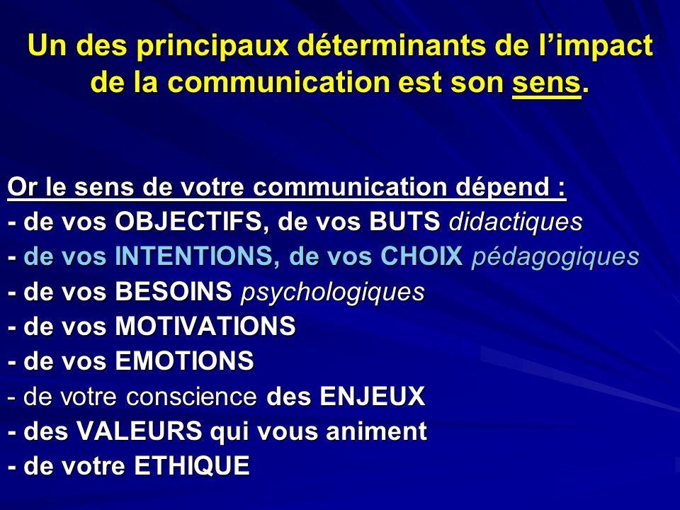 Un des principaux déterminants de l'impact de la communication est son sens.