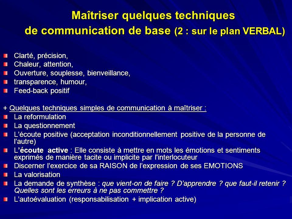 Maîtriser quelques techniques de communication de base (2 : sur le plan VERBAL)