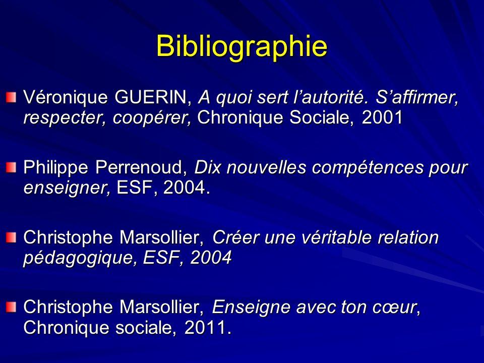 Bibliographie Véronique GUERIN, A quoi sert l'autorité. S'affirmer, respecter, coopérer, Chronique Sociale, 2001.