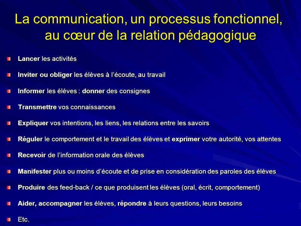 La communication, un processus fonctionnel, au cœur de la relation pédagogique