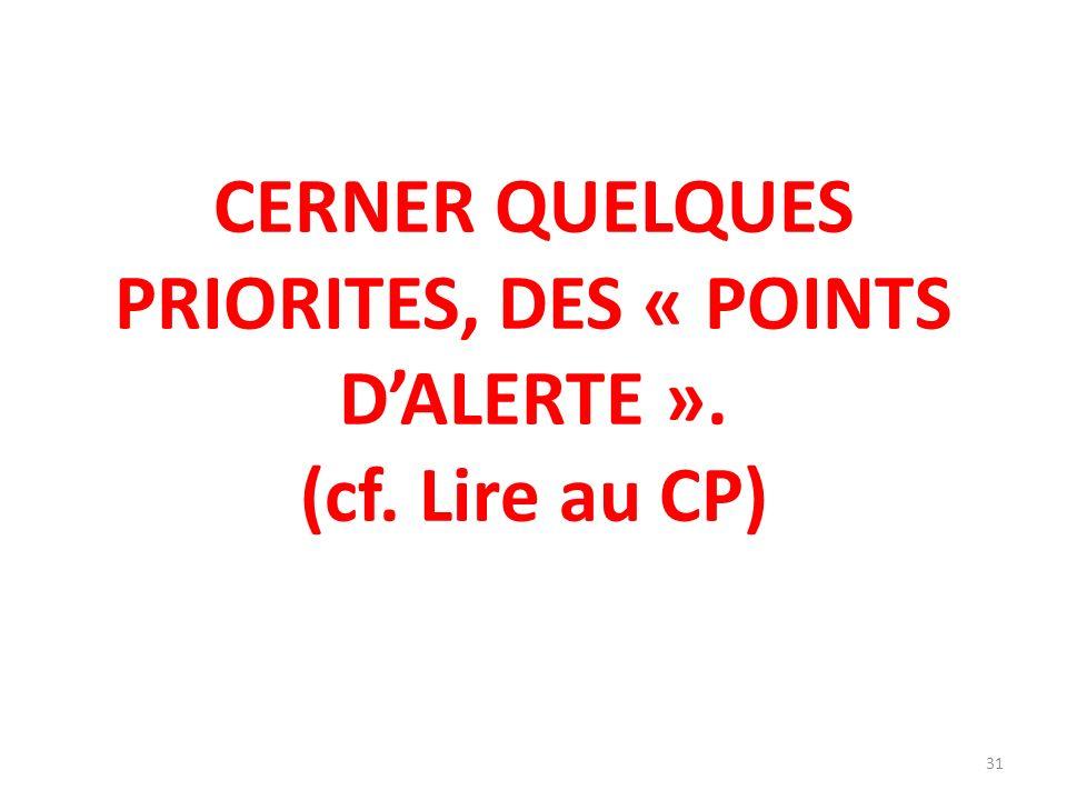 CERNER QUELQUES PRIORITES, DES « POINTS D'ALERTE ». (cf. Lire au CP)