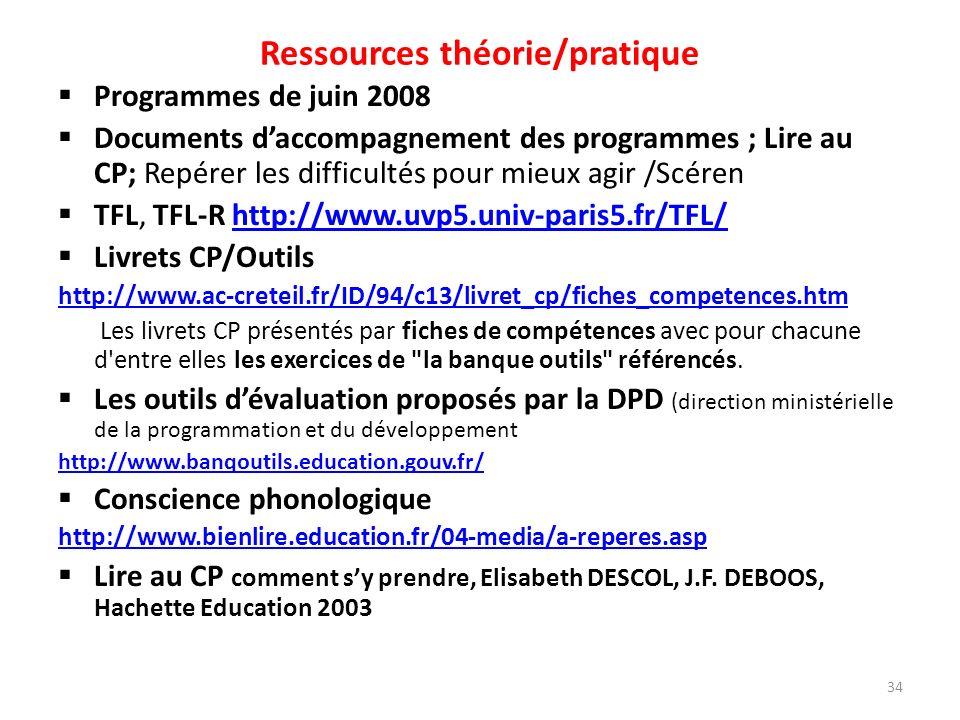 Ressources théorie/pratique