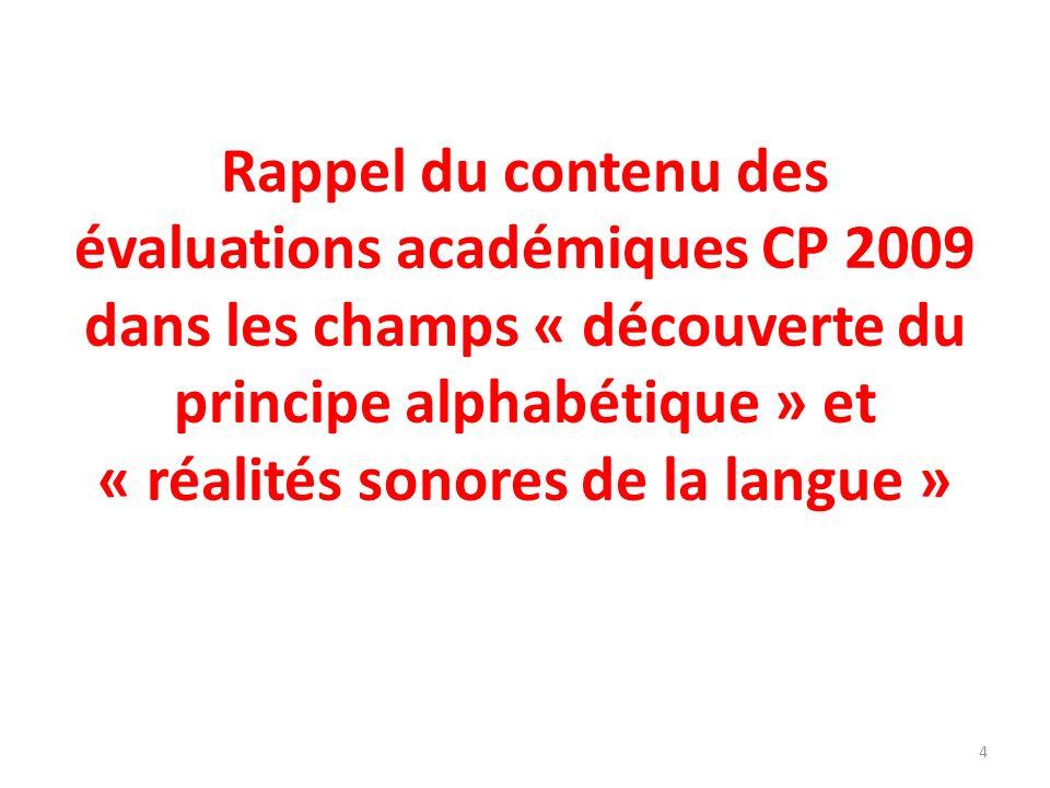 Rappel du contenu des évaluations académiques CP 2009 dans les champs « découverte du principe alphabétique » et « réalités sonores de la langue »