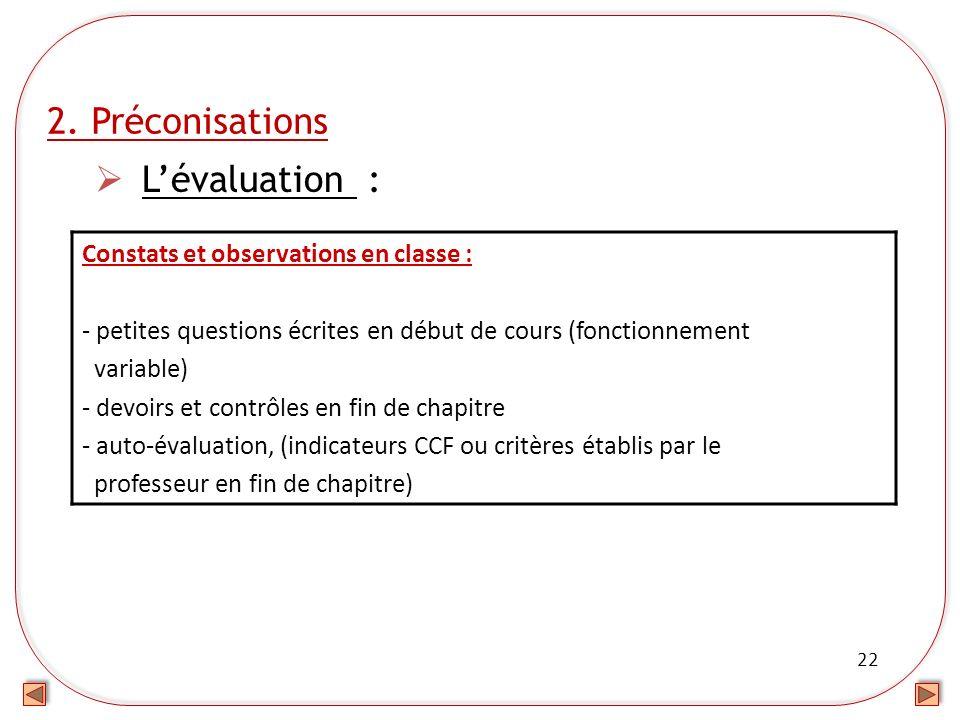 2. Préconisations L'évaluation : Constats et observations en classe :