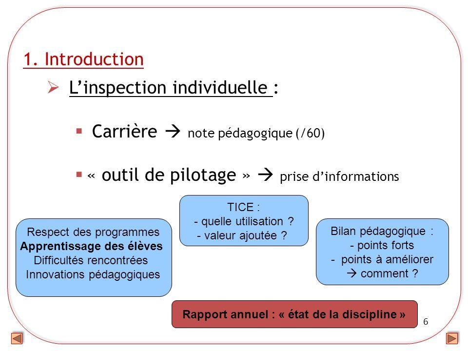 Rapport annuel : « état de la discipline »