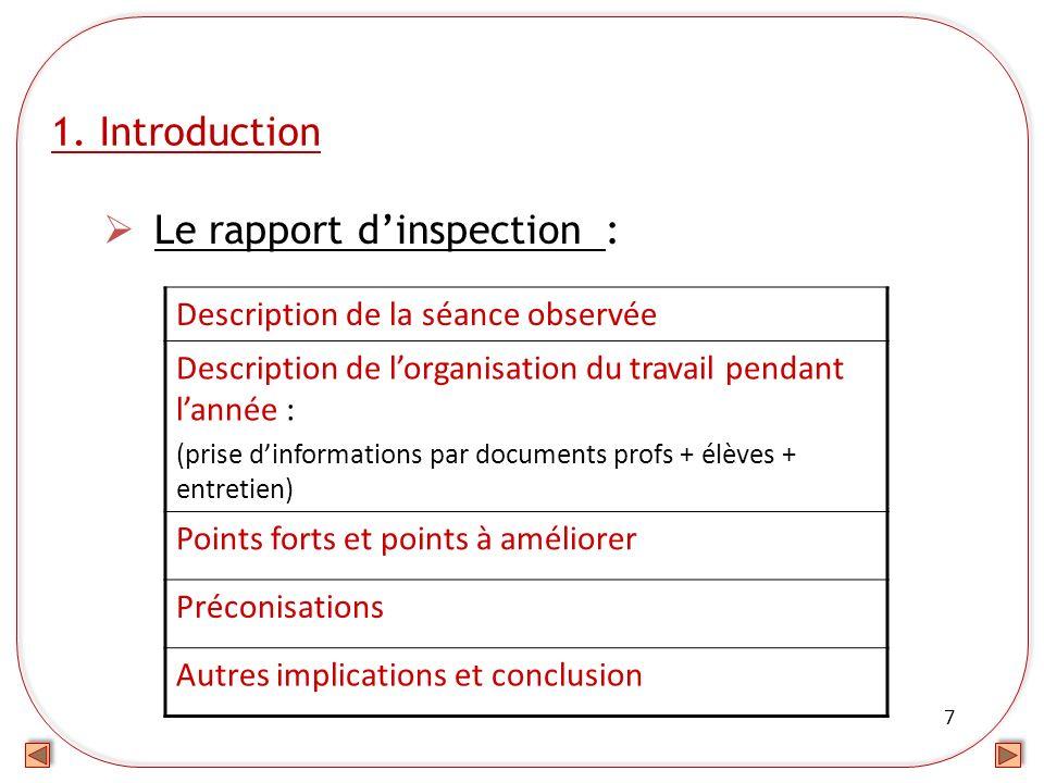 Le rapport d'inspection :