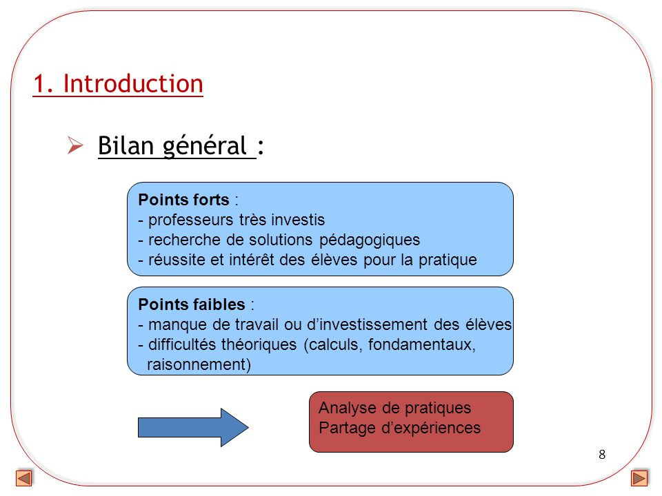 1. Introduction Bilan général : Points forts :