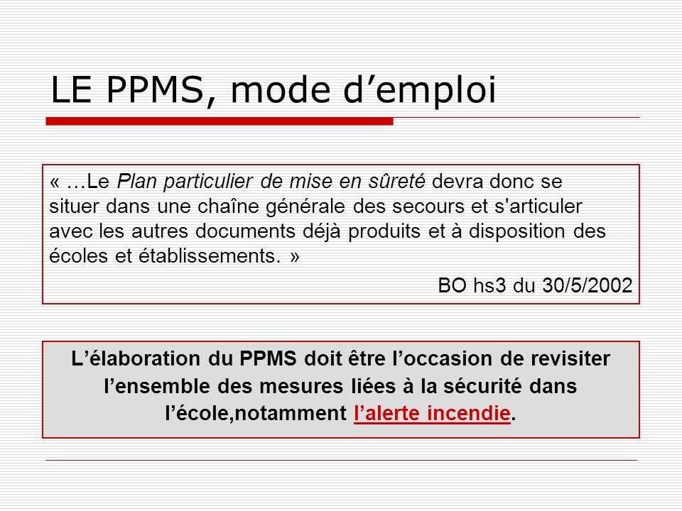 LE PPMS, mode d'emploi « …Le Plan particulier de mise en sûreté devra donc se.