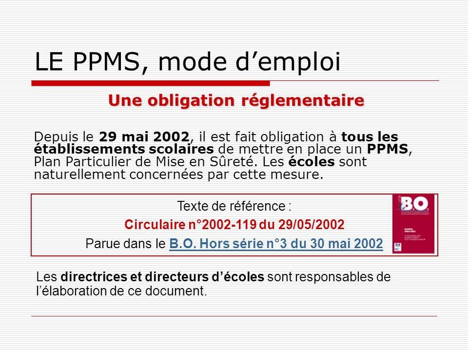 LE PPMS, mode d'emploi Une obligation réglementaire
