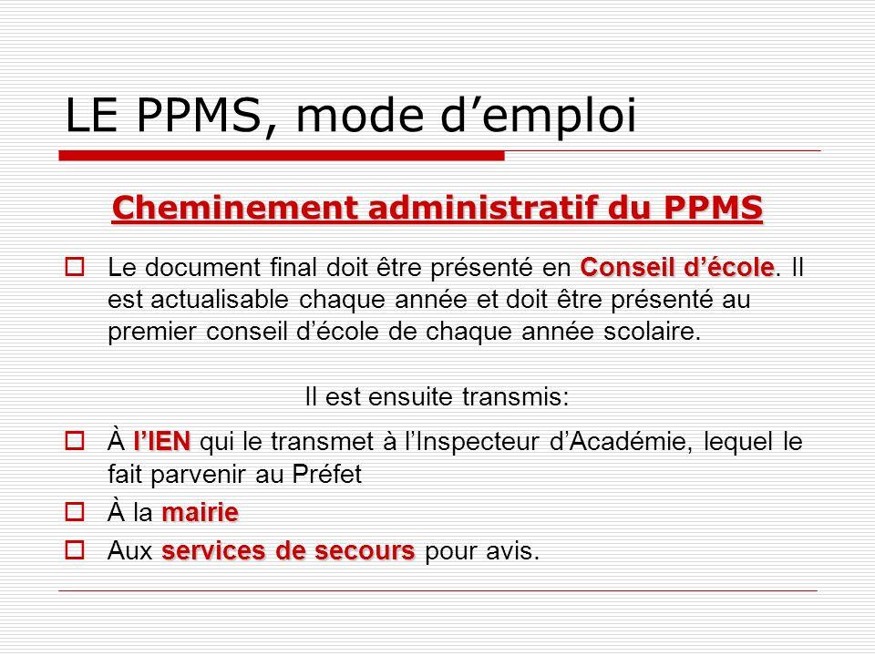 Cheminement administratif du PPMS