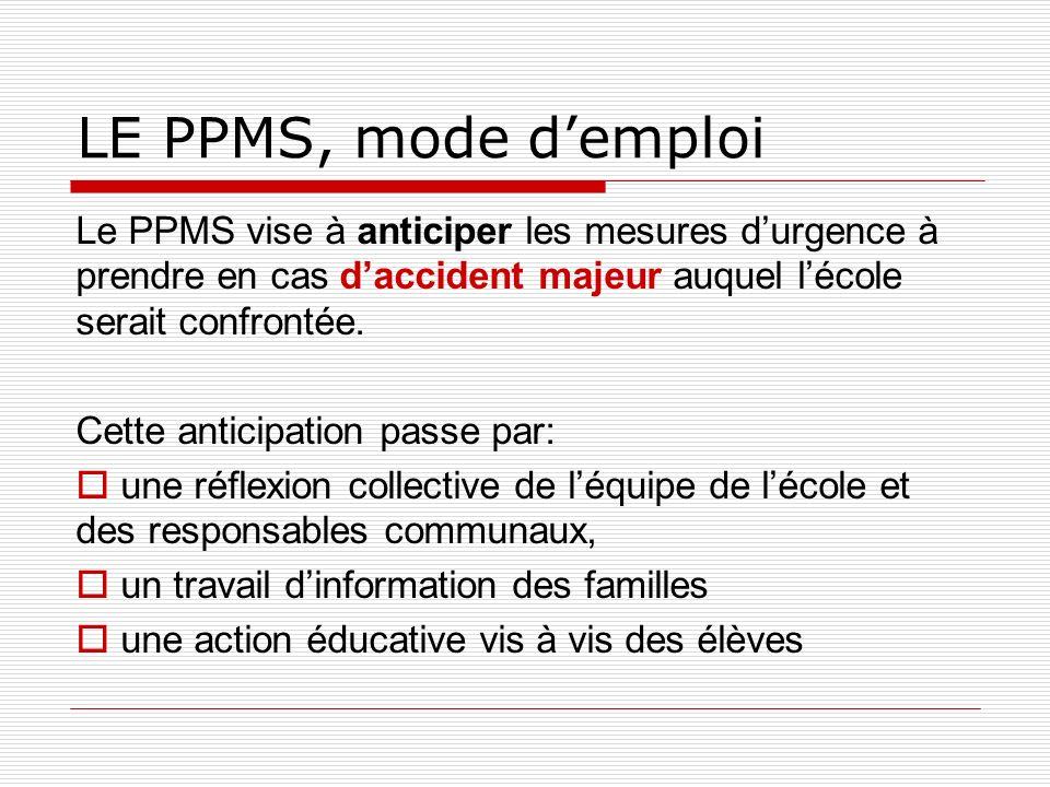 LE PPMS, mode d'emploi Le PPMS vise à anticiper les mesures d'urgence à prendre en cas d'accident majeur auquel l'école serait confrontée.