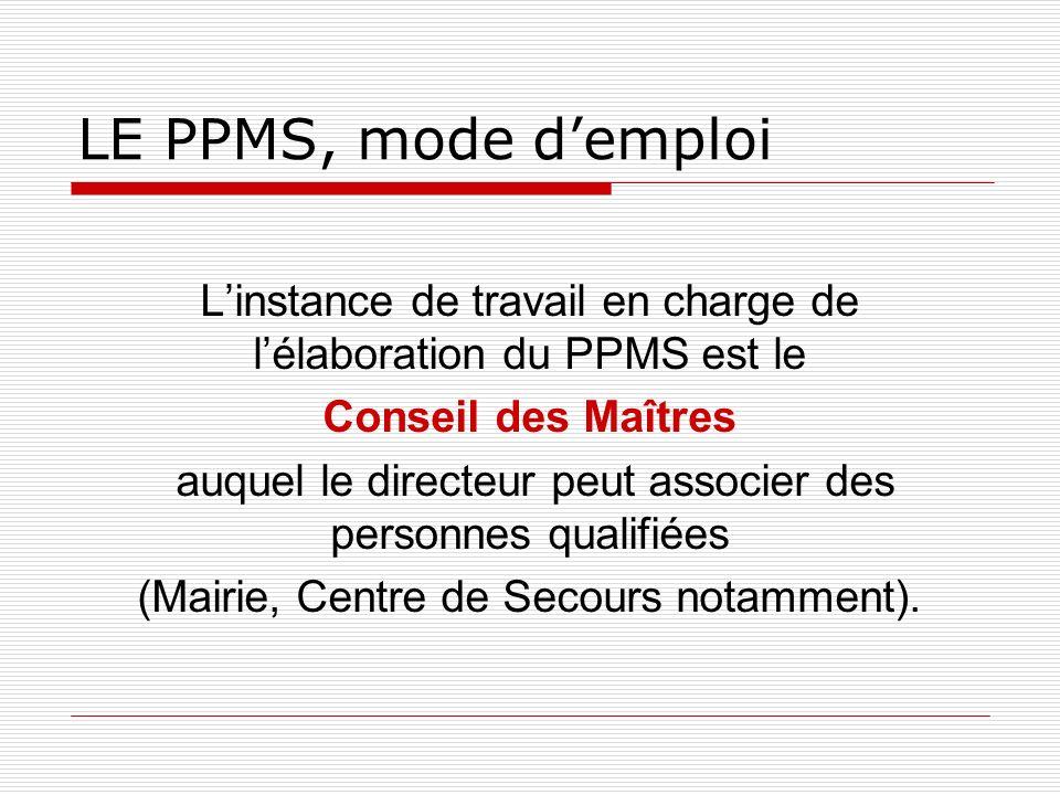 LE PPMS, mode d'emploi L'instance de travail en charge de l'élaboration du PPMS est le. Conseil des Maîtres.
