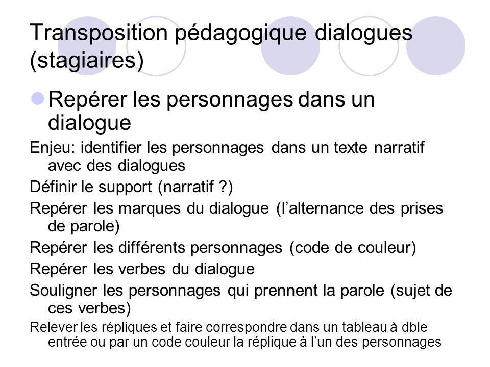 Transposition pédagogique dialogues (stagiaires)