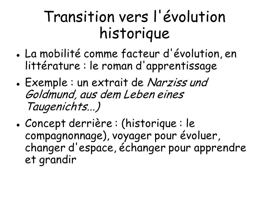 Transition vers l évolution historique