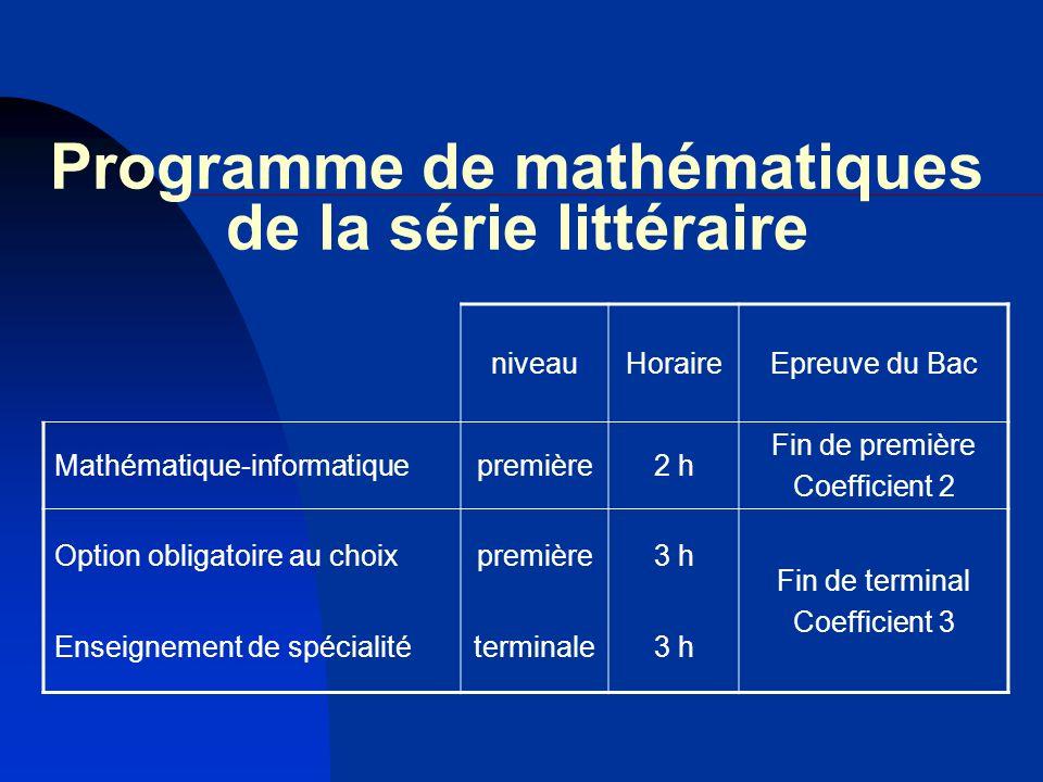 Programme de mathématiques de la série littéraire