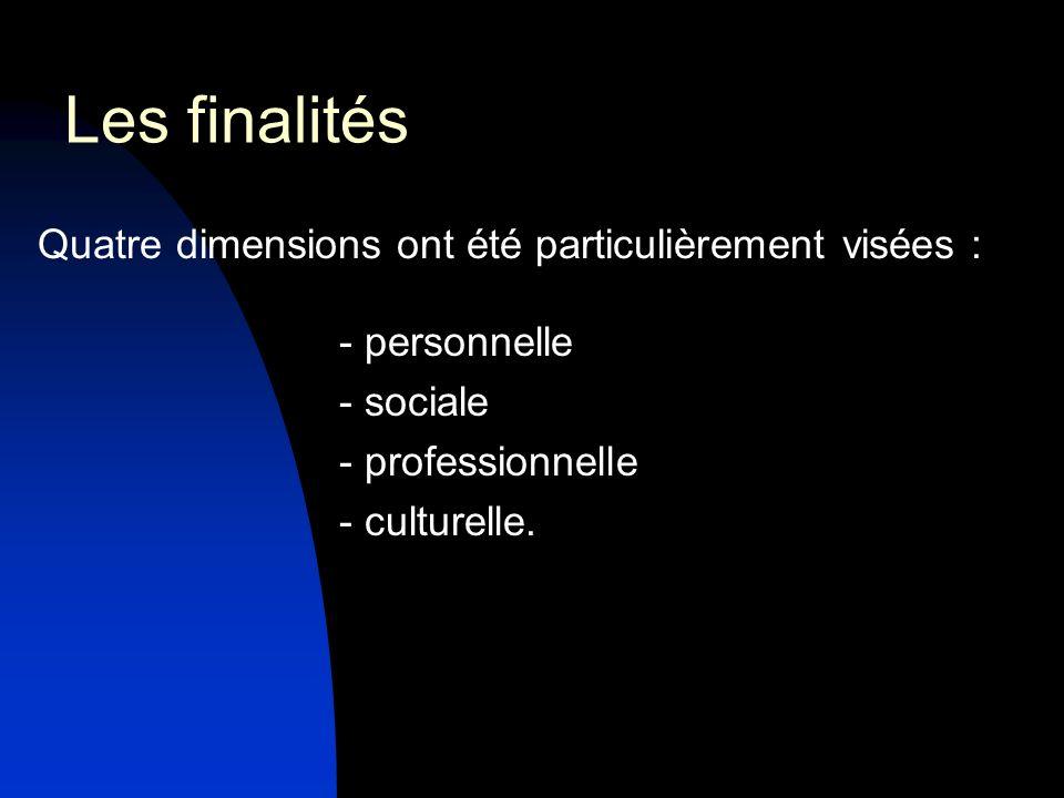 Les finalités Quatre dimensions ont été particulièrement visées :