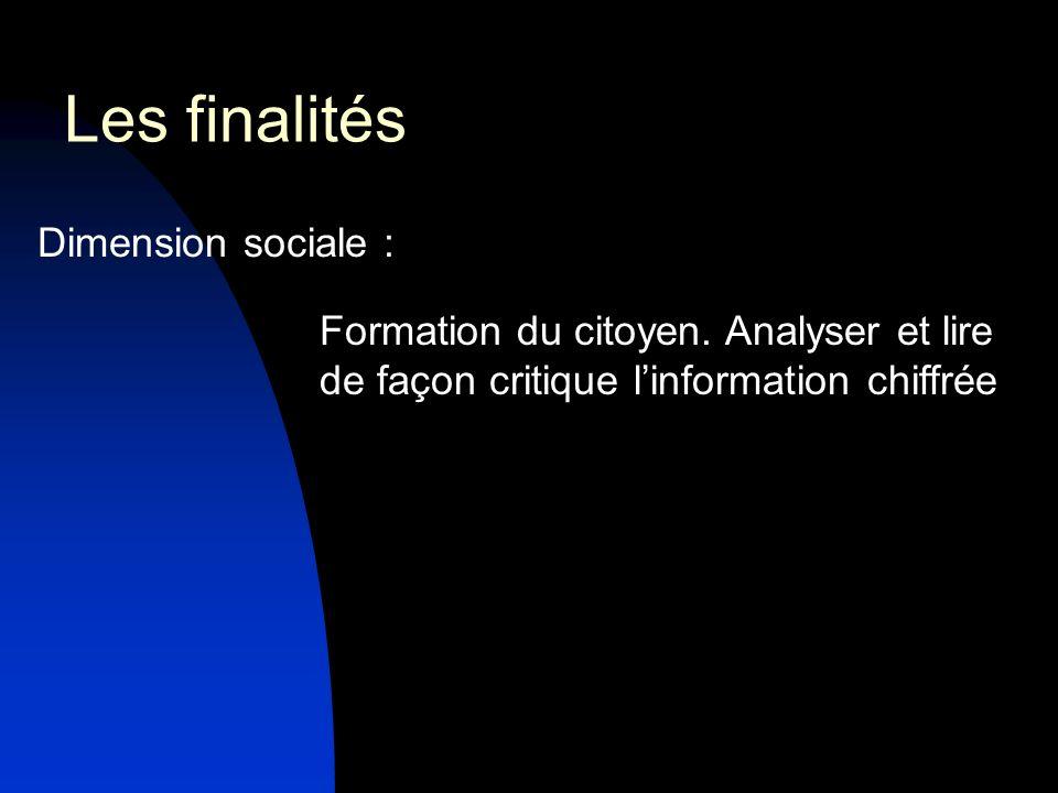 Les finalités Dimension sociale :
