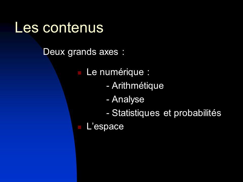 Les contenus Deux grands axes : Le numérique : - Arithmétique