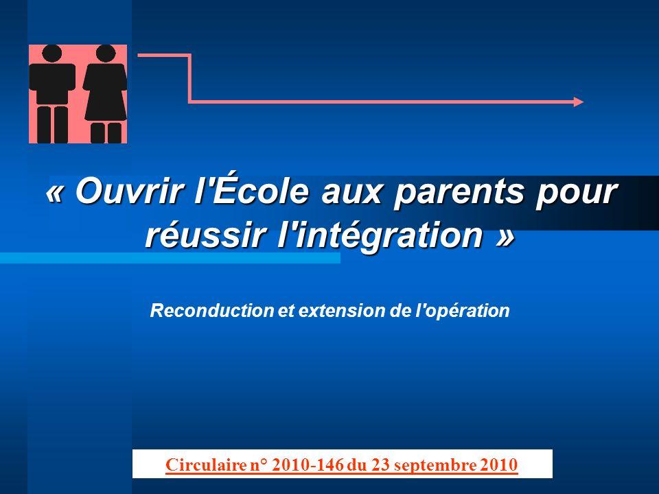 « Ouvrir l École aux parents pour réussir l intégration »