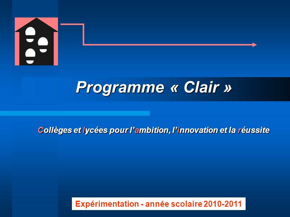 Programme « Clair » Collèges et lycées pour l'ambition, l'innovation et la réussite.