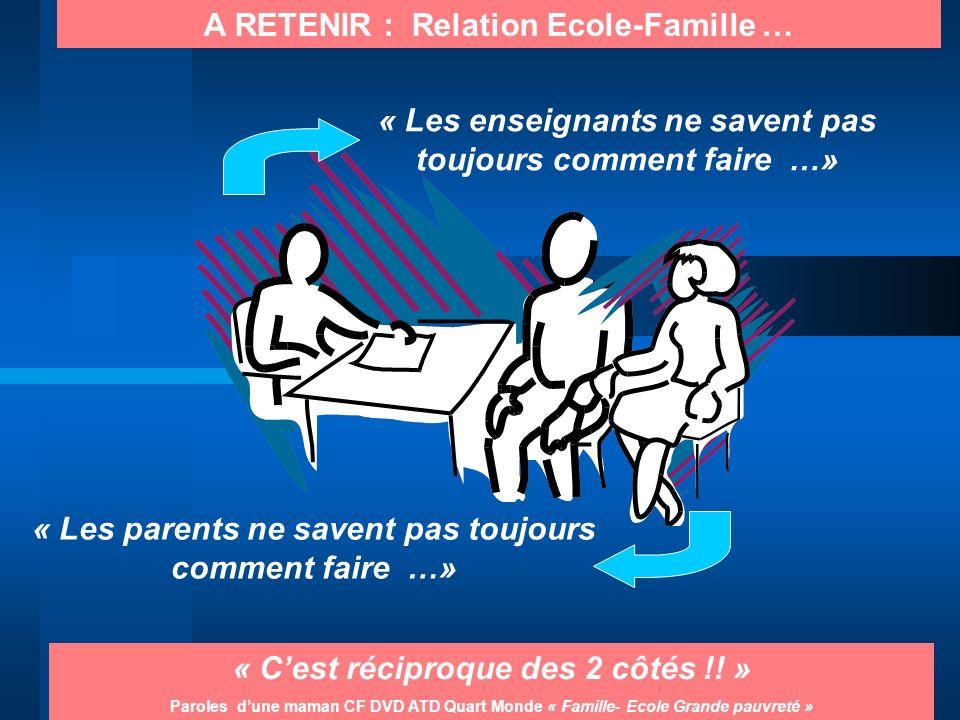 A RETENIR : Relation Ecole-Famille …