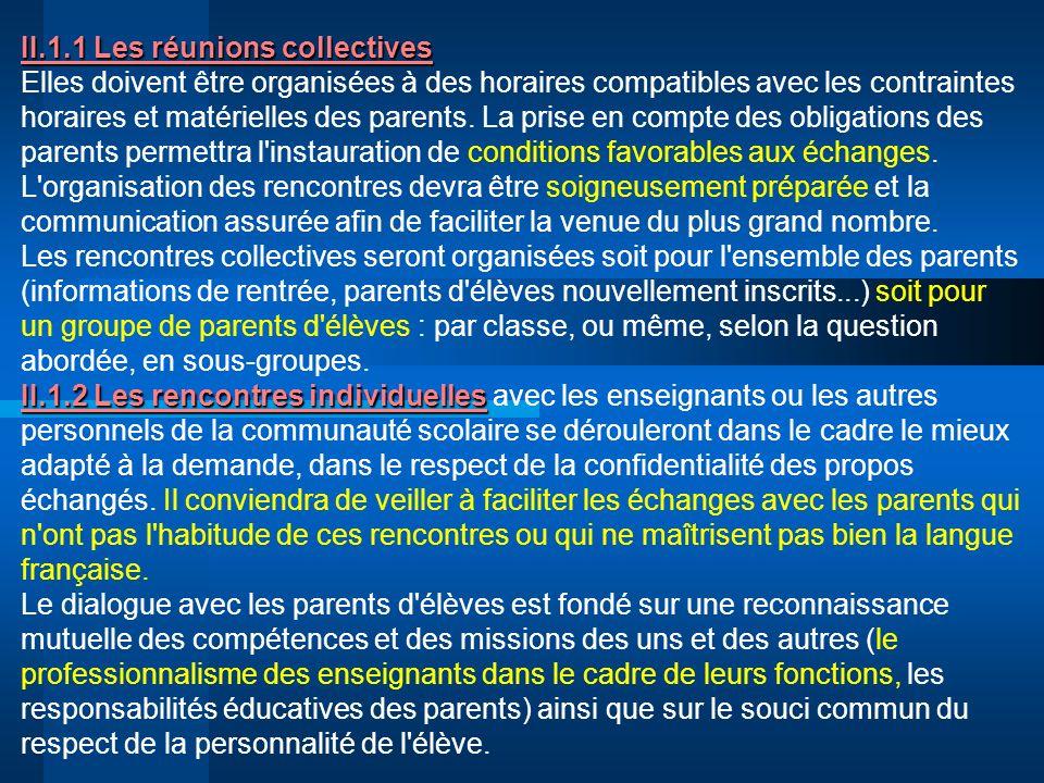 II.1.1 Les réunions collectives