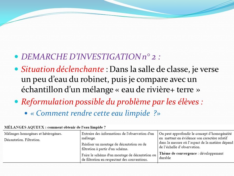 DEMARCHE D'INVESTIGATION n° 2 :