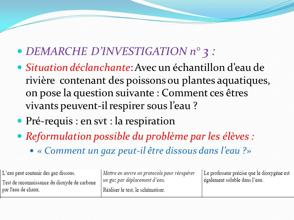 DEMARCHE D'INVESTIGATION n° 3 :