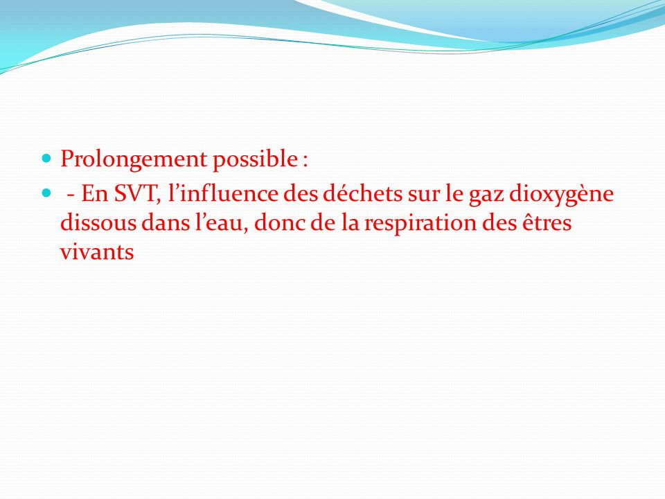 Prolongement possible :