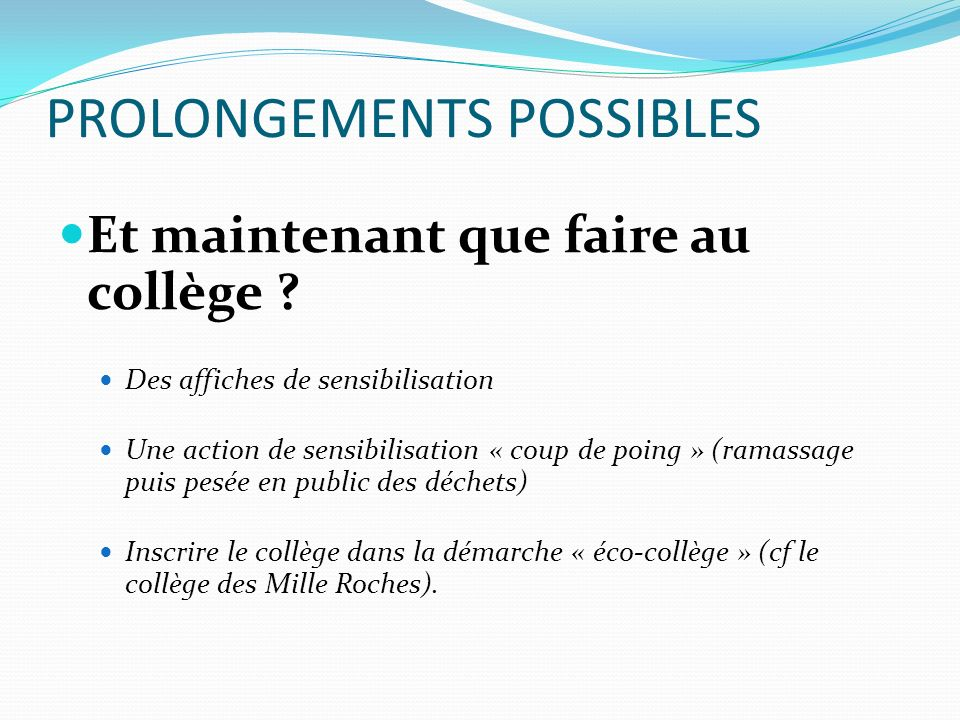PROLONGEMENTS POSSIBLES