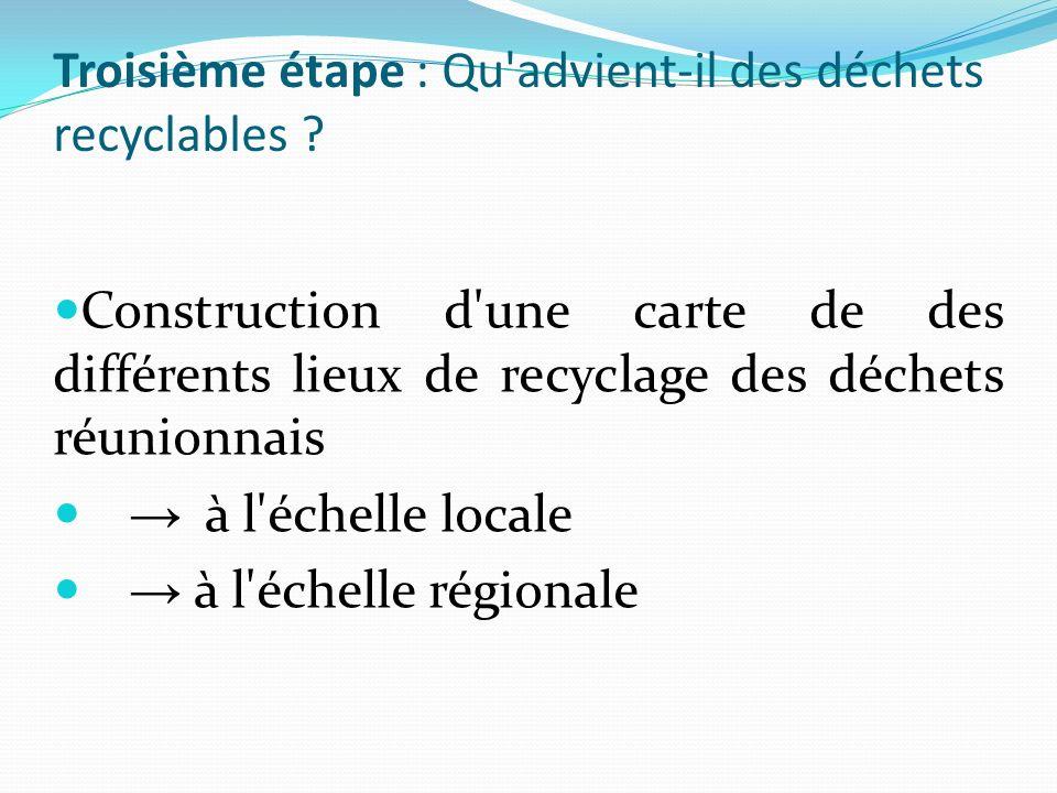 Troisième étape : Qu advient-il des déchets recyclables