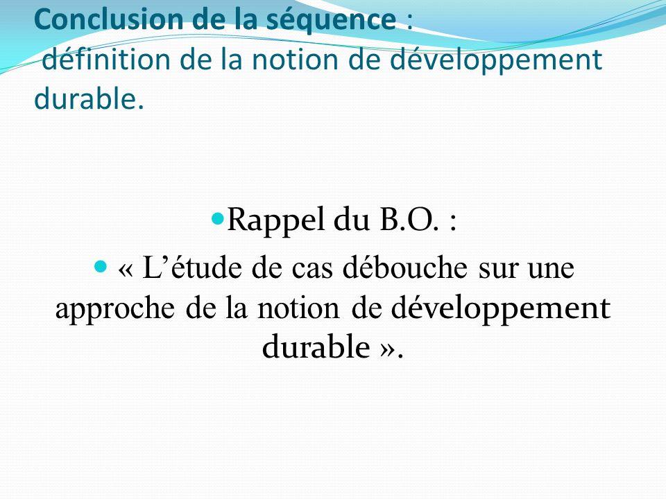 Conclusion de la séquence : définition de la notion de développement durable.