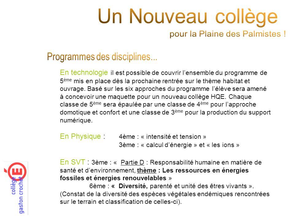 Un Nouveau collège Programmes des disciplines...
