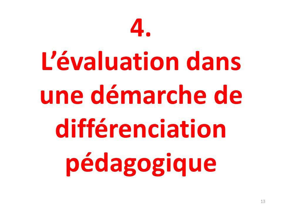 4. L'évaluation dans une démarche de différenciation pédagogique
