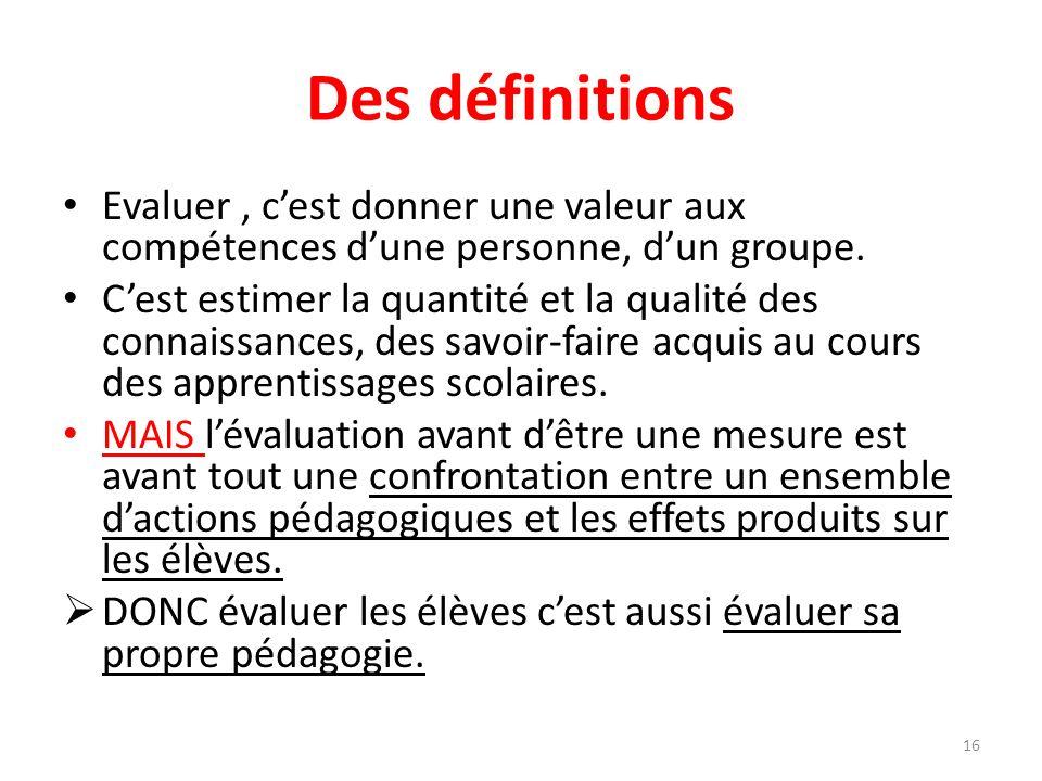 Des définitions Evaluer , c'est donner une valeur aux compétences d'une personne, d'un groupe.