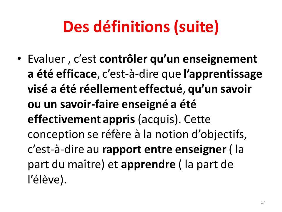 Des définitions (suite)
