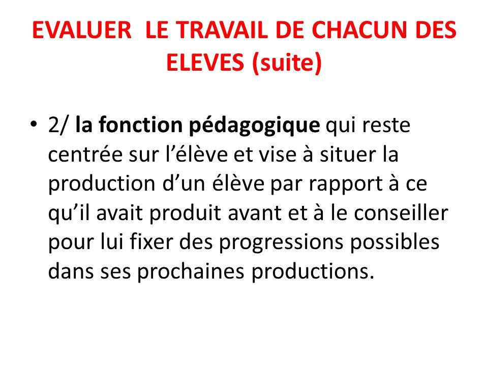EVALUER LE TRAVAIL DE CHACUN DES ELEVES (suite)