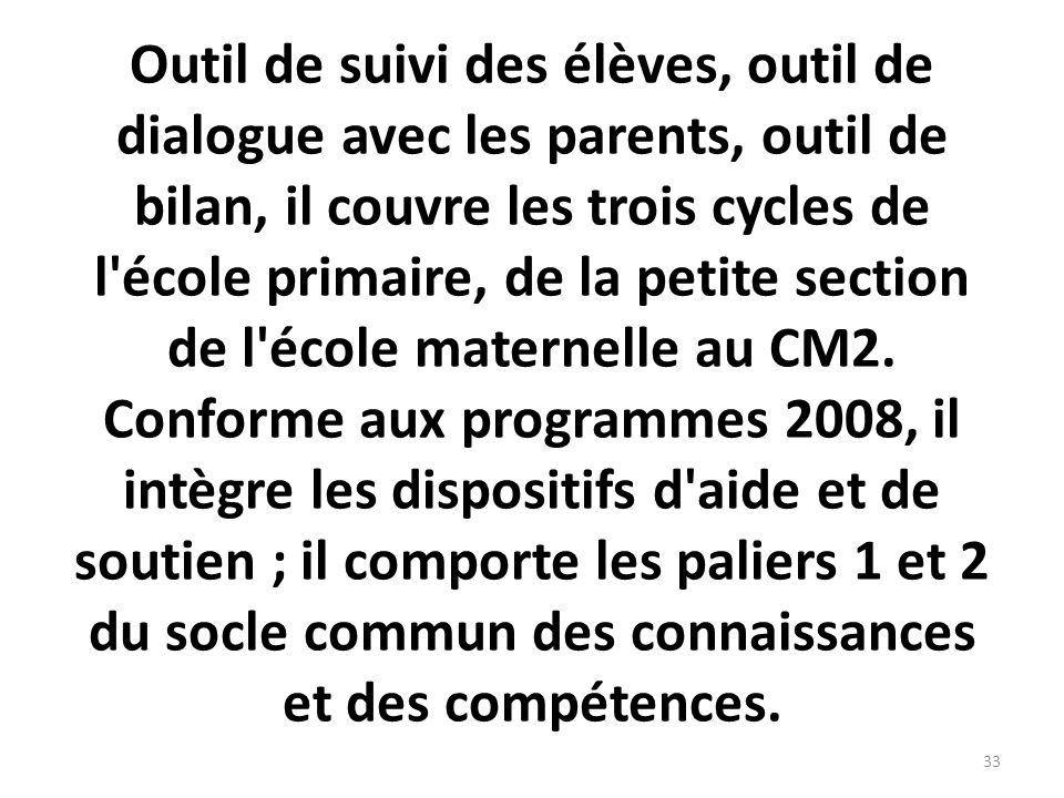 Outil de suivi des élèves, outil de dialogue avec les parents, outil de bilan, il couvre les trois cycles de l école primaire, de la petite section de l école maternelle au CM2.