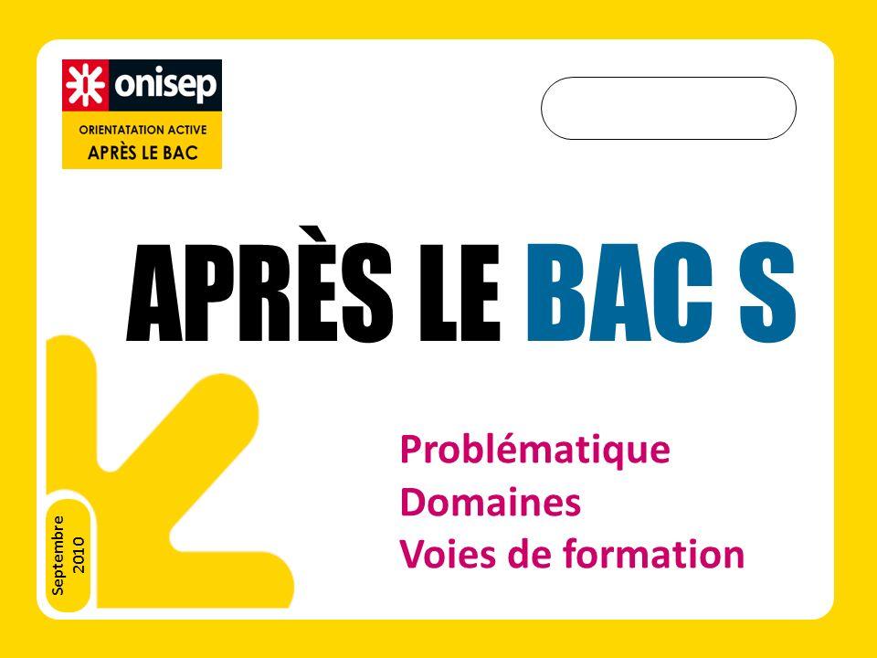 APRÈS LE BAC S Problématique Domaines Voies de formation Septembre
