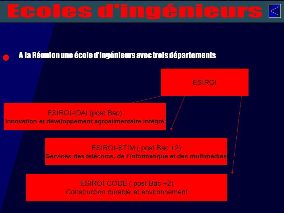 Ecoles d ingénieurs A la Réunion une école d'ingénieurs avec trois départements. ESIROI. ESIROI-IDAI (post Bac)