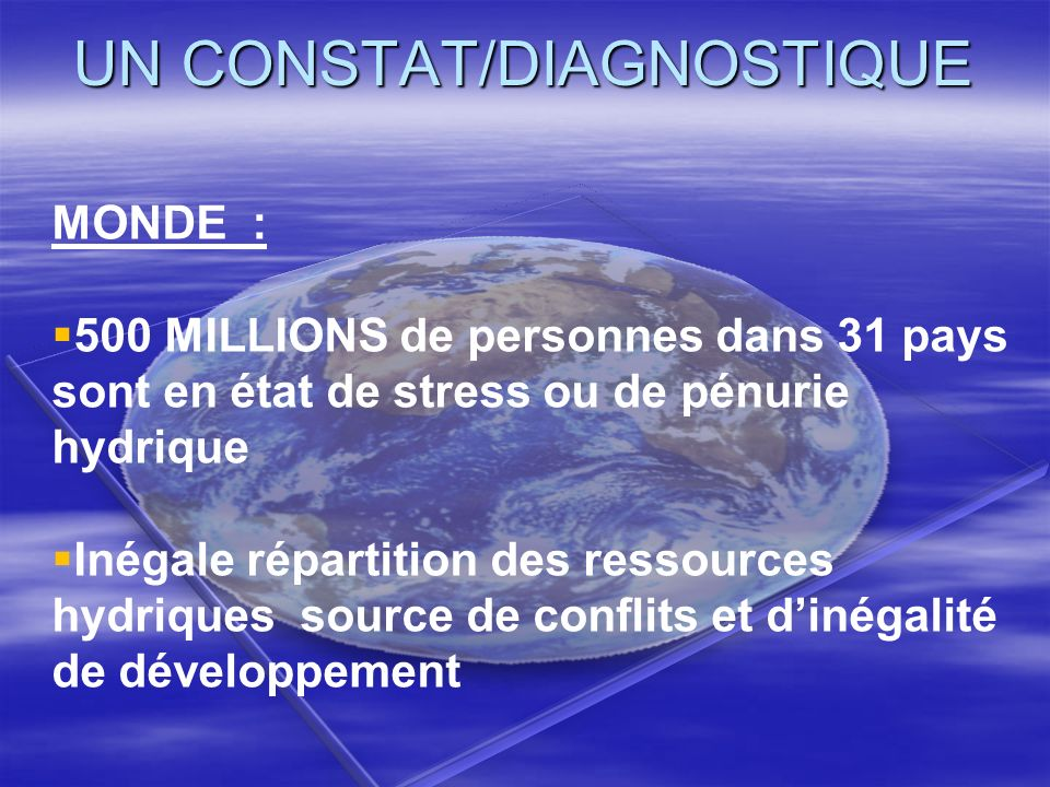 UN CONSTAT/DIAGNOSTIQUE