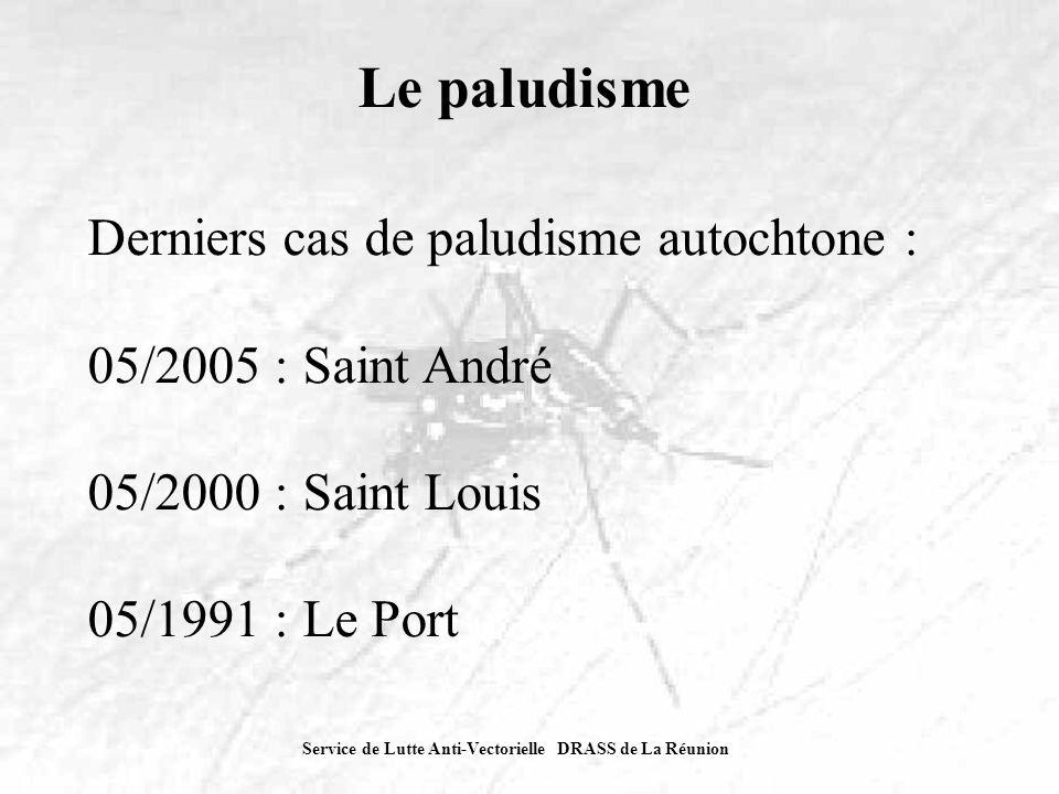 Le paludisme Derniers cas de paludisme autochtone :