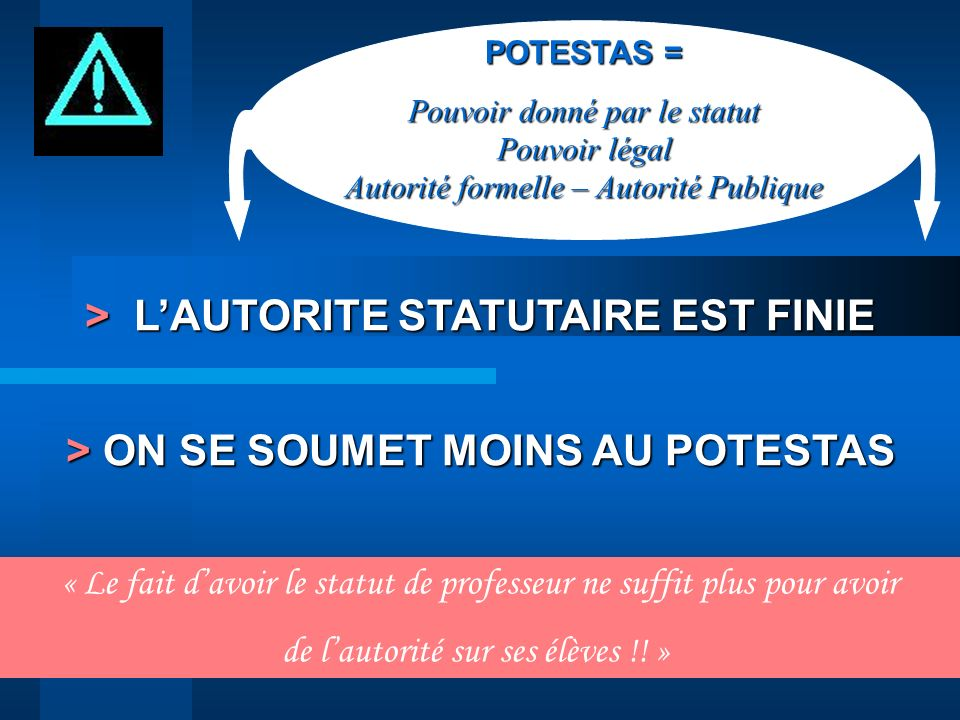 > L'AUTORITE STATUTAIRE EST FINIE