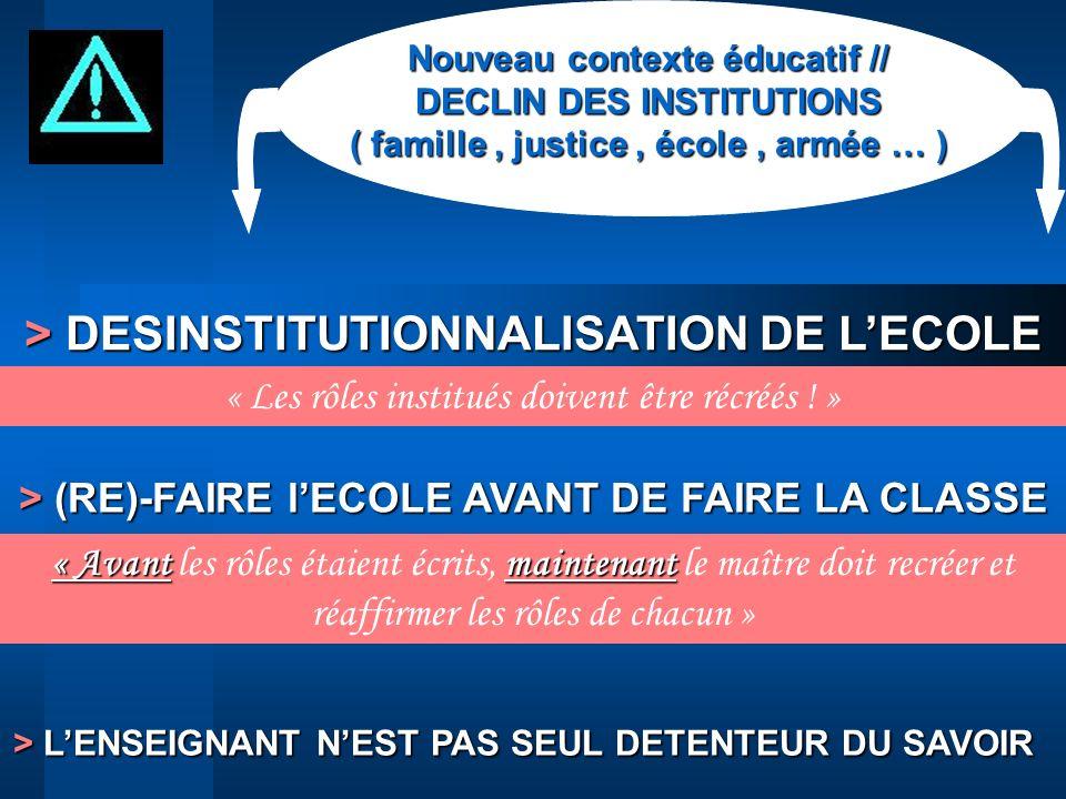 > DESINSTITUTIONNALISATION DE L'ECOLE